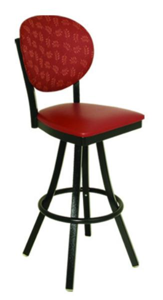 Vitro 600OX20 Oxford Series Bar Stool, Round Back, Free Standing Swivel, Metal Frame