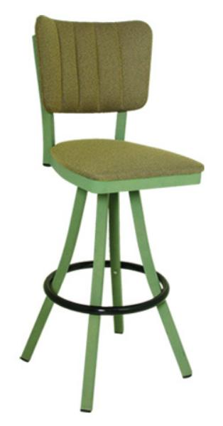 Vitro 600OX30 Oxford Series Bar Stool, Channel Back, Free Standing Swivel, Metal Frame