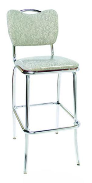 Vitro 921HBBS Classic Diner Bar Stool, Curved Back w/ Handle, 1 in Pulled Seat, Chrome
