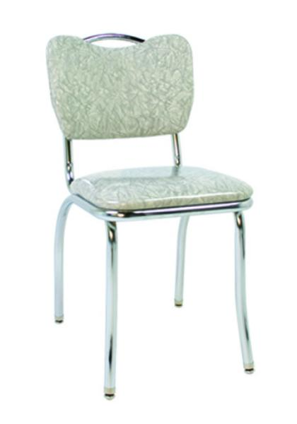 Vitro 921HB Classic Diner Chair Curved Back w/ Handle 1 in Pulled Seat Chrome Restaurant Supply