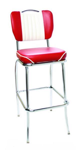 Vitro 921HBWFMBBS Classic Diner Bar Stool, Malibu Handle Back, 2 in Waterfall Seat, Chrome