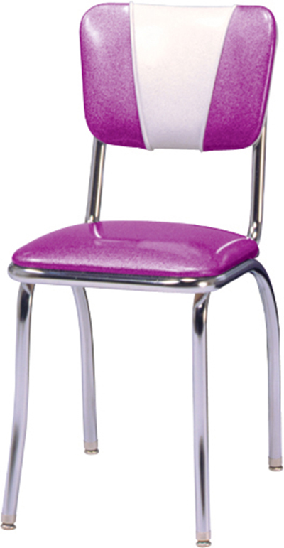Vitro 921V Classic Diner Chair, Curved V Back, 1 in Pulled Seat, Chrome