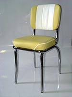 Vitro 939CBWF Classic Diner Chair, Channel Back, 1 in Pulled Seat, Chrome