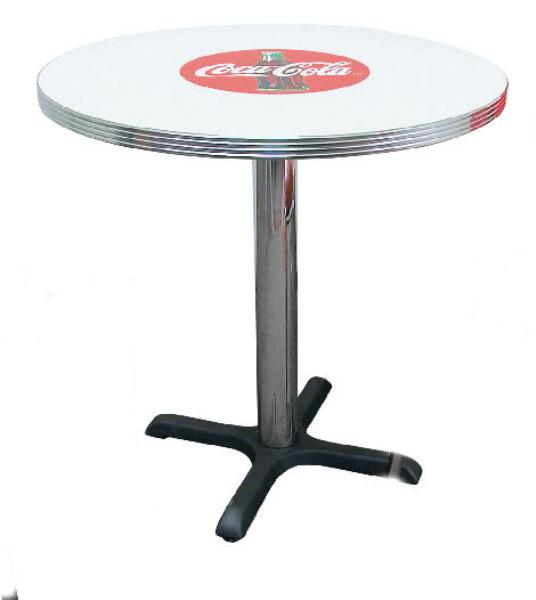 "Vitro BGA12530CBB Coke Red Disc Icon Table, 30"" Diameter, 30""Dining Height"