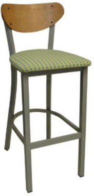 Vitro INN-2210 BS PS Curved Wood Back Bar Stool w/ 1.25-in Pull Seat & Square Steel Tubing