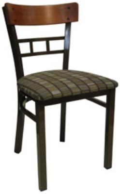 Vitro INN-2400 PS Wood & Metal Lattice Back Chair w/ 1.25-in Pull Seat & 16-ga Square Steel Tubing