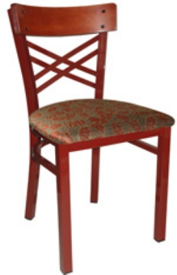 Vitro INN-2500 PS Wood & Metal Criss Cross Back Chair w/ 1.25-in Pull Seat & Square Steel Tubing