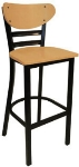 Vitro INN-2610 BS PS Curved Wood Back Bar Stool w/ Horizontal