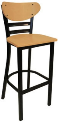 Vitro INN-2610 BS PS Curved Wood Back Bar Stool w/ Horizontal Metal Slats & 1.25-in Pulled Seat
