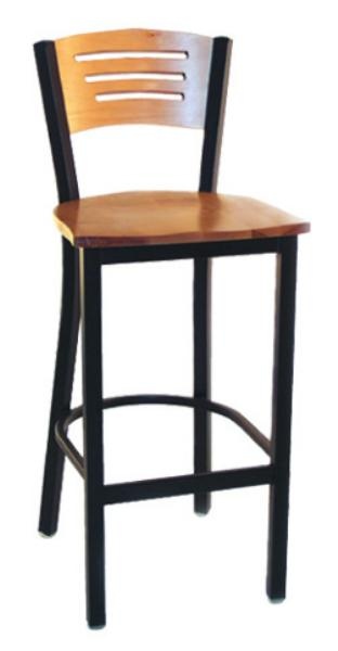 Vitro LSC1575 Legend Series Bar Stool, 3 Slotted Back, Metal Frame