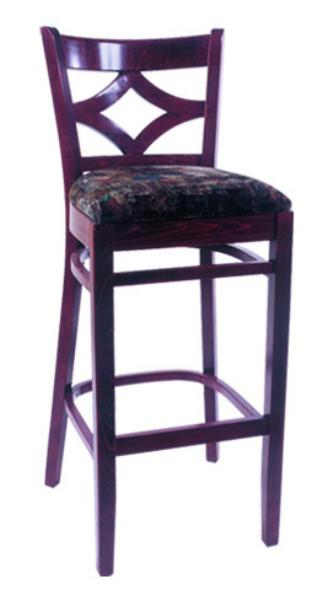 Vitro WLS1130BS Woodland Series Bar Stool, Diamond Back, Upholstered Seat, Wood Frame
