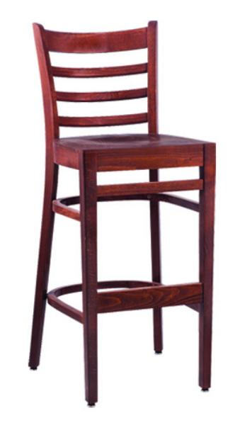 Vitro WLS1300BS Woodland Series Bar Stool Ladder Back Upholstered Seat Wood Frame Restaurant Supply