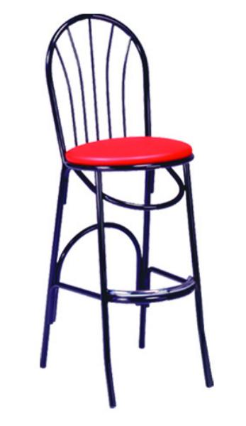 Vitro X55BS Parlor Fanback Bar Stool, 1 in Pulled Seat, Metal Paint Frame