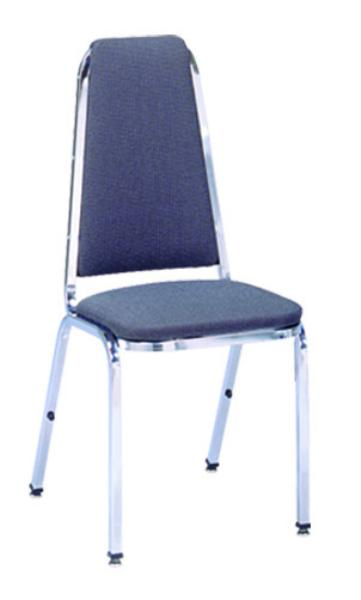 Vitro X6 Stacker Series Chair, High Curved Back, 1 in Pulled Seat, Metal Frame