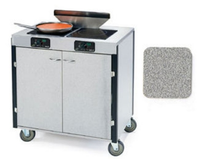 "Lakeside 2075 GRSAN 40.5"" High Mobile Cooking Cart w/ 2 Induction Stove, Gray Sand"