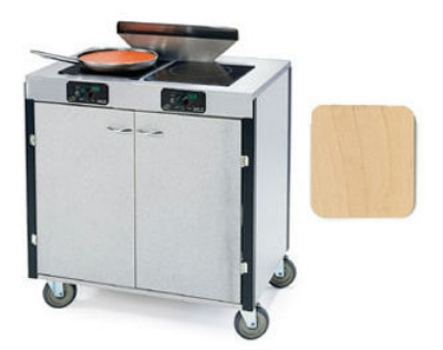 "Lakeside 2075 LTMAP 40.5"" High Mobile Cooking Cart w/ 2 Induction Stove, Light Maple"