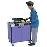 "Lakeside 2075 PURP 40.5"" High Mobile Cooking Cart w/ 2 Induction Stove, Purple"