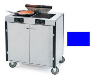"Lakeside 2075 ROYBL 40.5"" High Mobile Cooking Cart w/ 2 Induction Stove, Royal Blue"