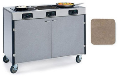 "Lakeside 2080 BGESUE 35.5"" High Mobile Cooking Cart w/ 3 Induction Stove, Beige Suede"