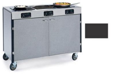 """Lakeside 2080 BLK 35.5"""" High Mobile Cooking Cart w/3"""" Frared Heat Stove, Black"""