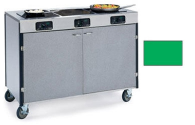 """Lakeside 2080 GRN 35.5"""" High Mobile Cooking Cart w/ 3 Induction Stove, Green"""