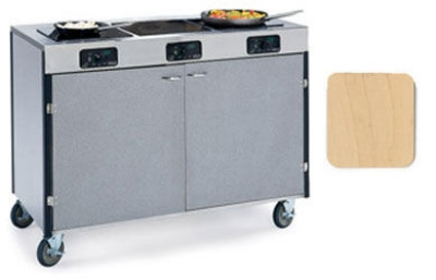 """Lakeside 2080 HRMAP 35.5"""" High Mobile Cooking Cart w/ 3 Induction Stove, Hard Rock Maple"""