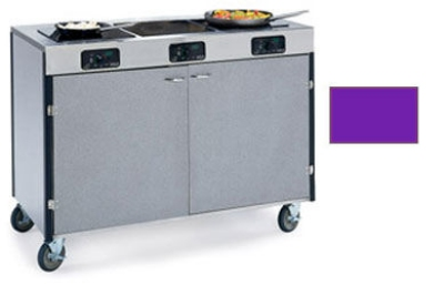 "Lakeside 2080 PURP 35.5"" High Mobile Cooking Cart w/ 3 Induction Stove, Purple"