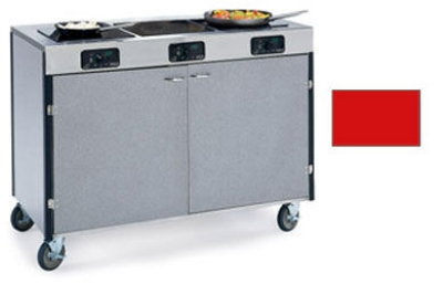 """Lakeside 2080 RED 35.5"""" High Mobile Cooking Cart w/3"""" Frared Heat Stove, Red"""