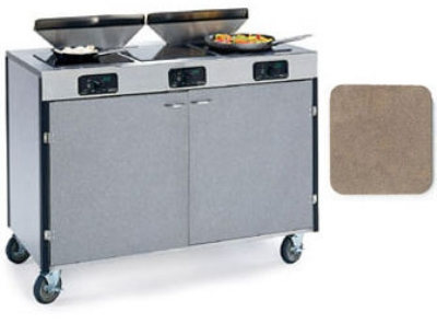 """Lakeside 2085 BGESUE 40.5"""" High Mobile Cooking Cart w/ 3 Induction Stove, Beige Suede"""