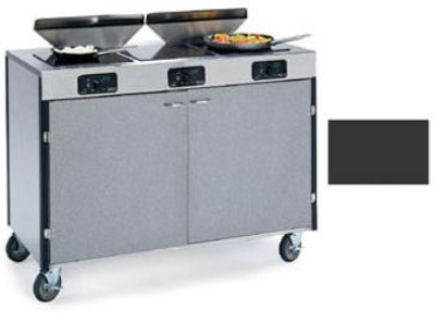 "Lakeside 2085 BLK 40.5"" High Mobile Cooking Cart w/ 3 Induction Stove, Black"