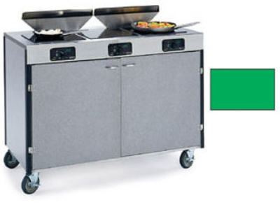 "Lakeside 2085 GRN 40.5"" High Mobile Cooking Cart w/ 3 Induction Stove, Green"