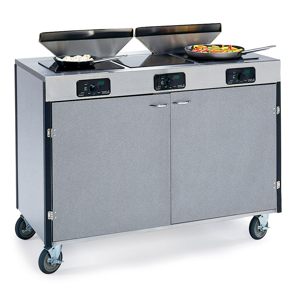 "Lakeside 2085 GRSAN 40.5"" High Mobile Cooking Cart w/ 3 Induction Stove, Gray Sand"