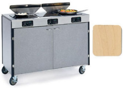 "Lakeside 2085 HRMAP 40.5"" High Mobile Cooking Cart w/ 3 Induction Stove, Hard Rock Maple"