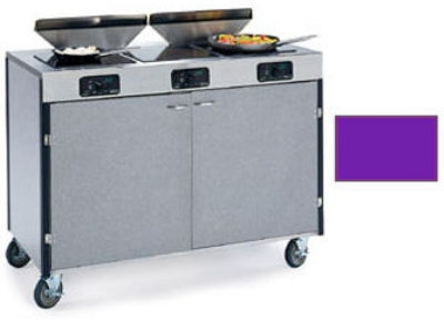 "Lakeside 2085 PURP 40.5"" High Mobile Cooking Cart w/ 3 Induction Stove, Purple"
