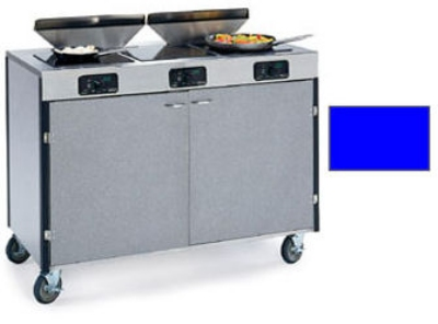 "Lakeside 2085 ROYBL 40.5"" High Mobile Cooking Cart w/ 3 Induction Stove, Royal Blue"