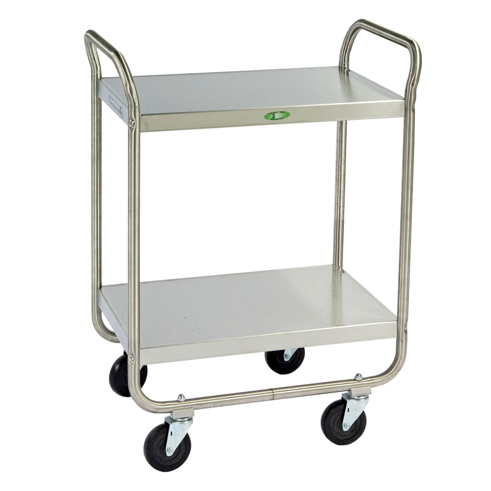 Lakeside 210 2-Level Stainless Utility Cart w/ 500-lb Capacity, Flat Ledges