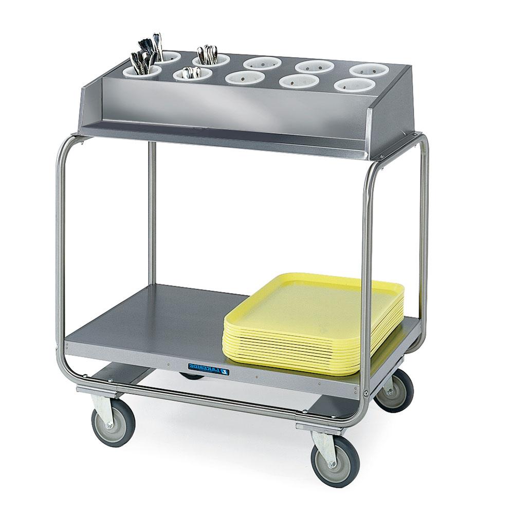 Lakeside 213 Tray Silver Cart w/ (10) Flatware Cylinder Capactiy, 500-lb