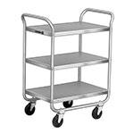 Lakeside 222 3-Level Stainless Utility Cart w/ 500-lb Capacity, Flat Ledges