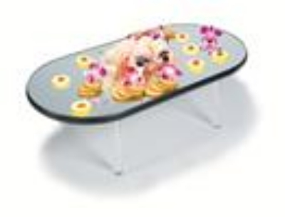 Lakeside 2264 Oval Rimless Mirror Tray w/ Clear Acrylic Legs, 16 x 32""