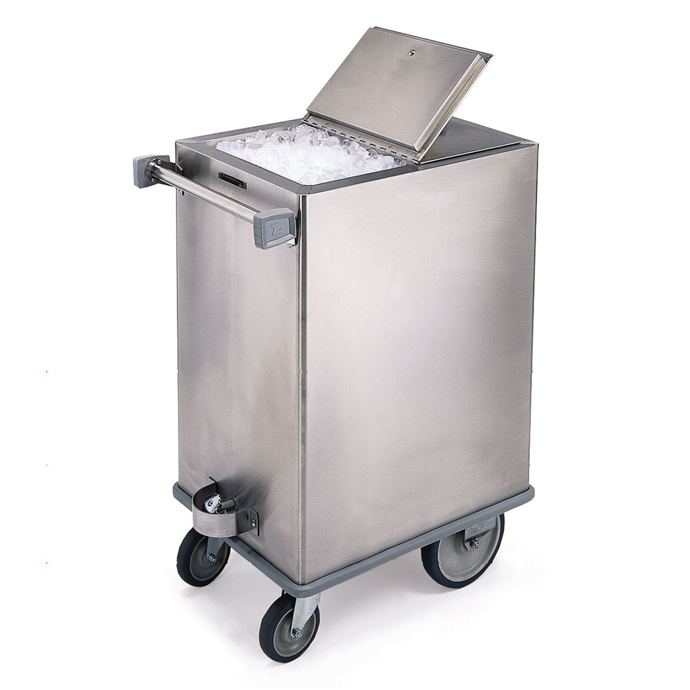 Lakeside 240 Mobile Ice Bin w/ 125-lb Capacity & Hinged Cover, Stainless