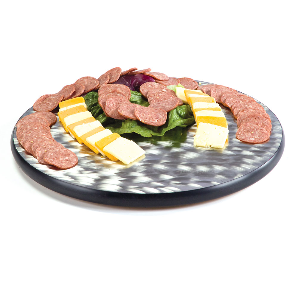 """Lakeside 2429 22"""" Round Serving Tray, Stainless Steel"""