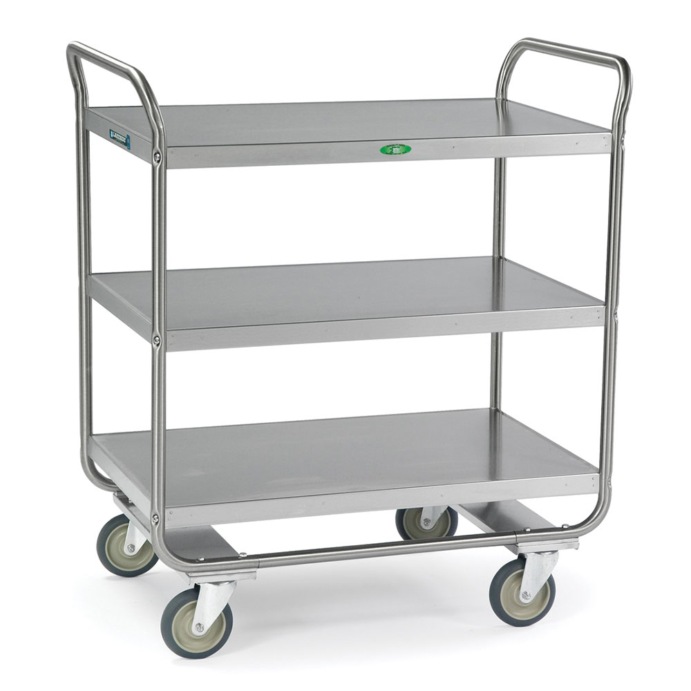 Lakeside 244 3-Level Stainless Utility Cart w/ 500-lb Capacity, Flat Ledges