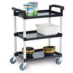 Lakeside 2500 3-Shelf Utility Cart w/ Push Handles, 300-lb Capacity, Black