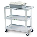 Lakeside 2501 3-Shelf Utility Cart w/ Push Handles, 300-lb Capacity, Grey