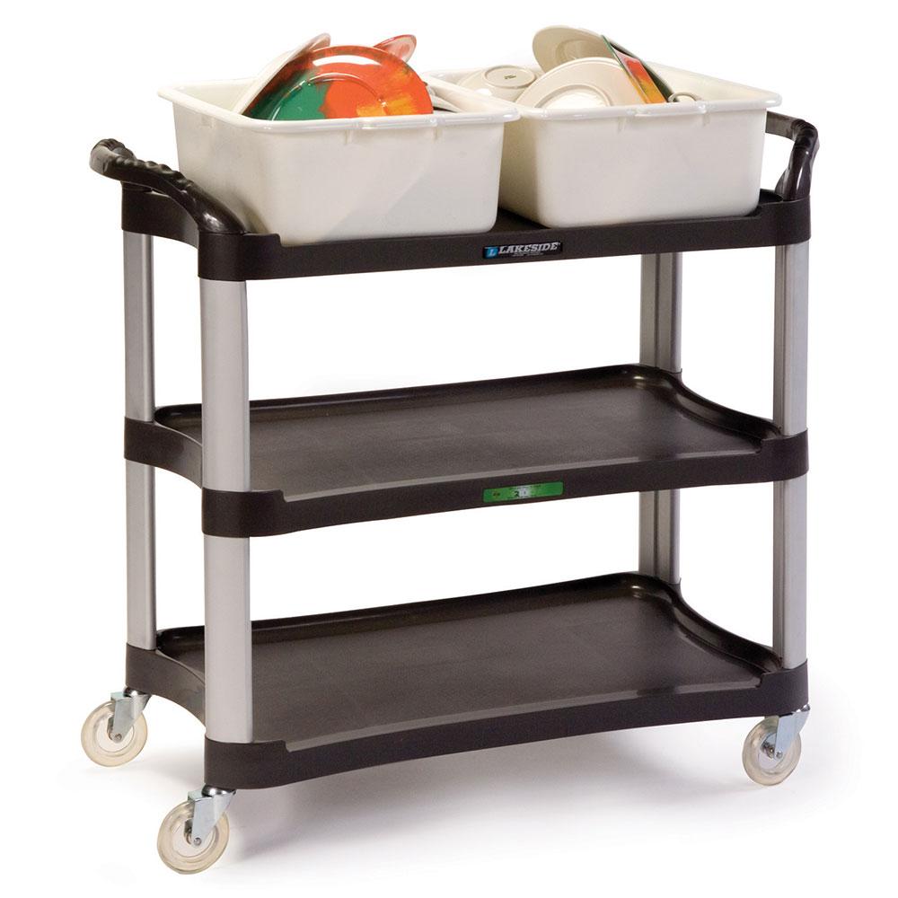 Lakeside 2512 3-Level Polymer Utility Cart w/ 500-lb Capacity, Raised Ledges