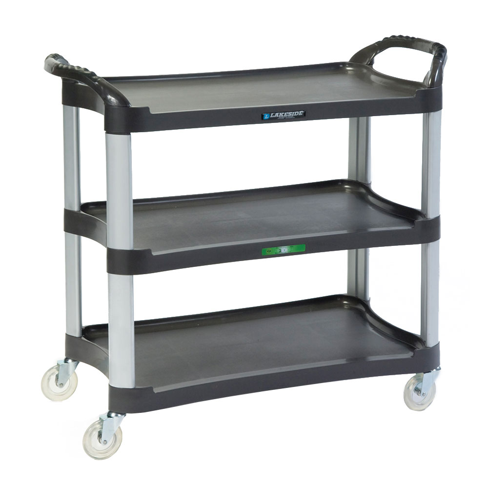 Lakeside 2512 3-Level Polymer Utility Cart w/ 500-lb Capacity, Raised Ledges