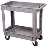 Lakeside 2521 2-Level Plastic Utility Cart w/ 500-lb Capacity - Raised Ledges, Gray