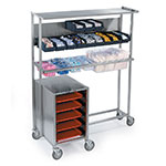 Lakeside 2610 Mobile Tray Starter Station w/ Tray Compartment, Holds 2 Rows Bins