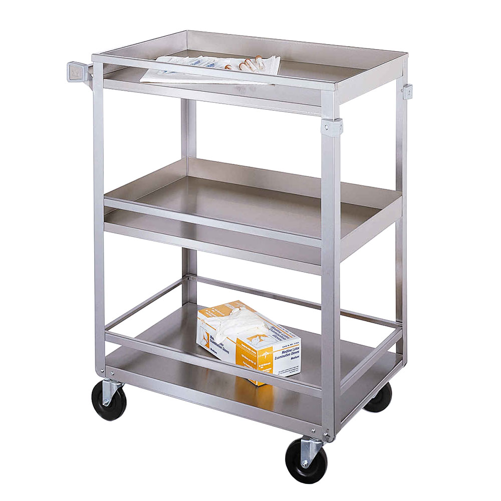 Lakeside 316 3-Level Stainless Utility Cart w/ 300-lb Capacity, Raised Ledges