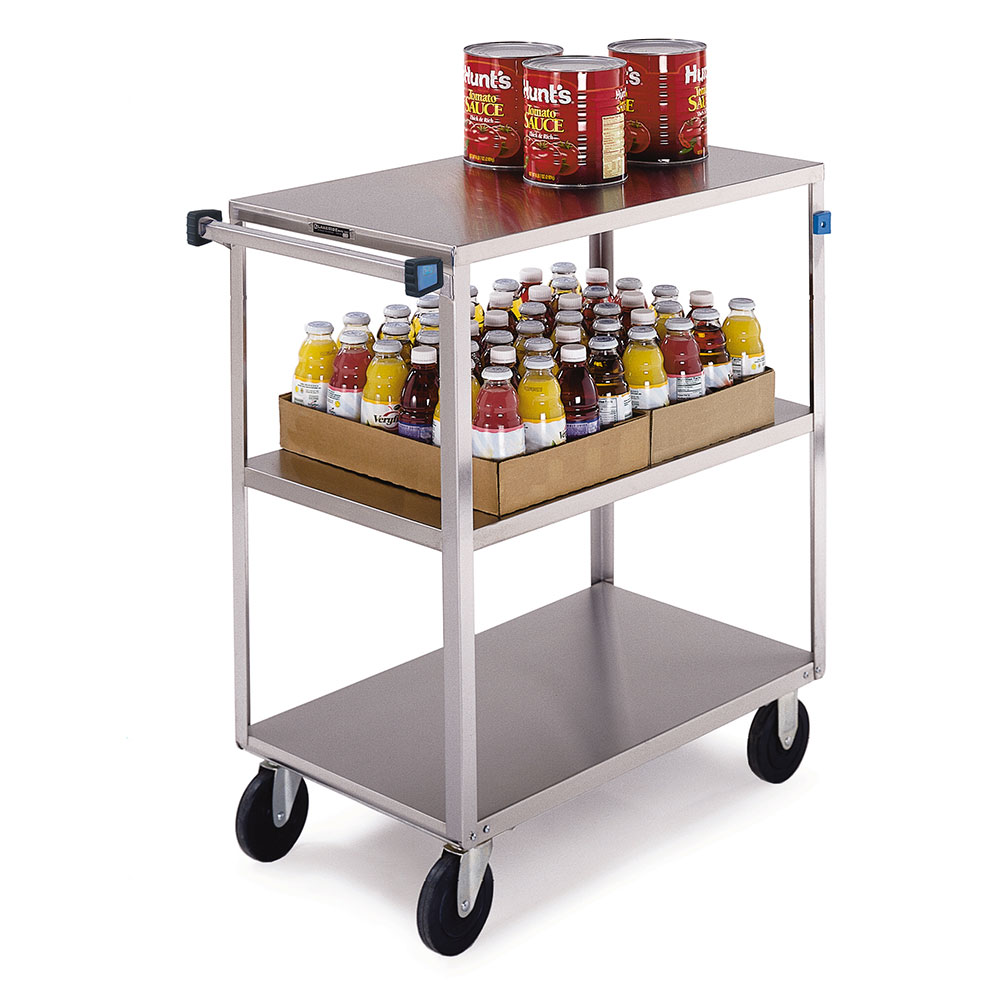 351 3-Shelf Open Tray Truck w/ Push Handle, 500-lb Capacity, Stainless